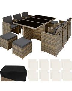 Salon de jardin NEW YORK 10 places avec 2 sets de housses + housse de protection