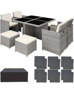 Salon de jardin MANHATTAN 8 places avec 2 sets de housses + housse de protection