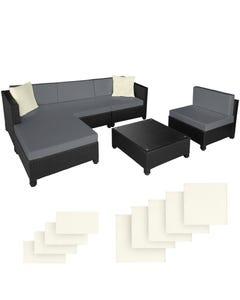 Rattan Lounge mit Aluminiumgestell inkl. Bezüge in 2 Farben