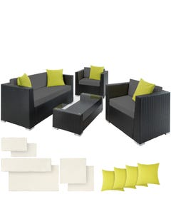 Rattan Lounge mit Aluminiumgestell München inkl. Bezüge in 2 Farben