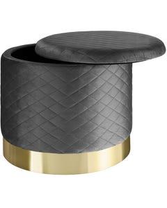 Sitzhocker Coco gepolstert in Samtoptik 300kg mit Stauraum